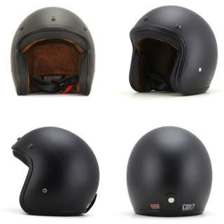 Matte Black Motorcycle Helmet Open Face Three Button Snap Retro Vintage Vespa Scooter Cafe Racer Motorbike Leather Gloss Old School