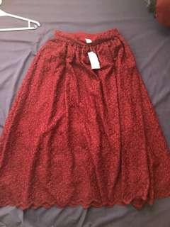 Long red skirt