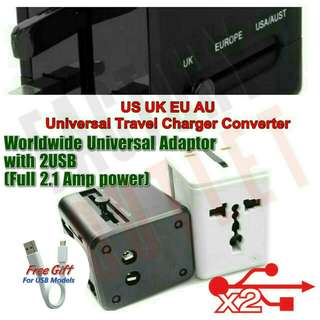 Worldwide International Traveller Adapter with Double USB ports 2100mAh. 10W High Power