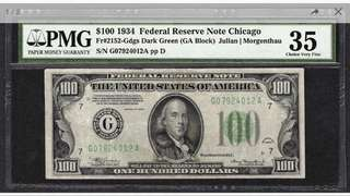 Extreme Rare 1934 $100 Federal Reserve Note