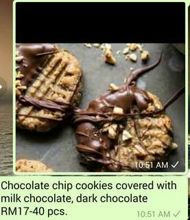 Chocolate chips cookies covered with milk chocolate.RM17-40pcs