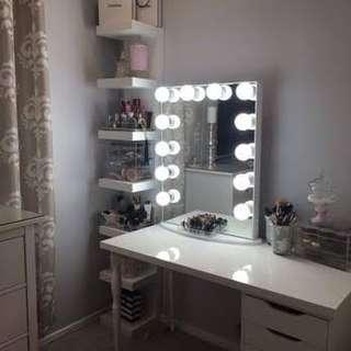 Vanity station (table, frameless mirror and shelf)