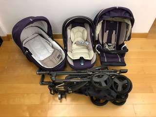 Inglesina baby pram and carrier - stroller/ car seat, cot 3-in-1 system