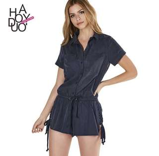 Side laced navy blue romper