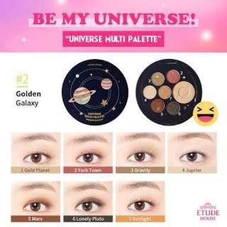 🚚 Etude house universe multi palette golden galaxy七色眼影盤