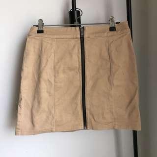 Tan Zip-up Skirt