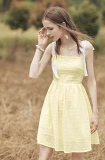 Lace strap soft yellow dress