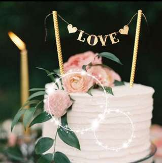 Gold Love Heart Cake Topper Bunting Decoration Decor Cupcake Toppers Wedding Anniversary