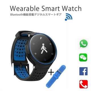 [ 全防水 ] 智能手錶 Smart Watch- WHATSAPP ,WECHAT 信息顯示/來電顯示/血壓,心率監測/卡路里計算 /計步器/睡眠監測 IP68 防水 Fitness Tracker Heart Rate Sex Activity Monitor Pedometer X2 for iPhone Android