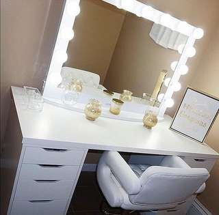 Vanity table, framed mirror and stool
