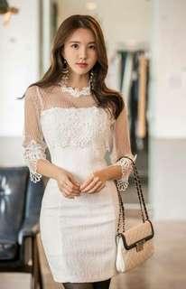 White Lace Elegant Dress PRE Order