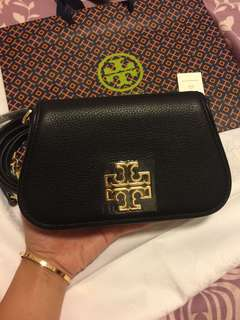 Tory Burch small black leather clutch/chain bag