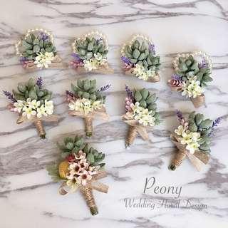 Peony Wedding: 多肉植物系列- 兄弟襟花/ 姊妹手花/ 宴會襟花/ 絲花襟花 [訂造款] Like facebook 9折優惠