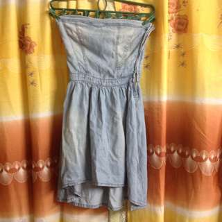 Tube denim dress
