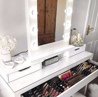 Vanity table and mirror with stool