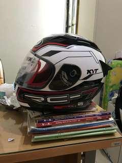 Helm KYT RC Seven Putih Hitam Merah