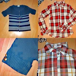 Bundle: Plaid/Checkered Brown Long sleeves and Knitted Navy Blue, striped with white and gold button cropped top