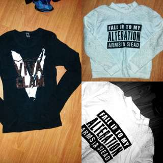 Bundle: White Laced Sweat Shirt and American Apparel Black studded Long sleeves Mac Viva Glam