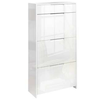 24 Pair High Gloss Wooden Shoe Cabinet  White