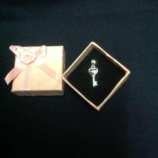 Genuine 925 Sterling Italy Silver Key w/ Stones Pendant