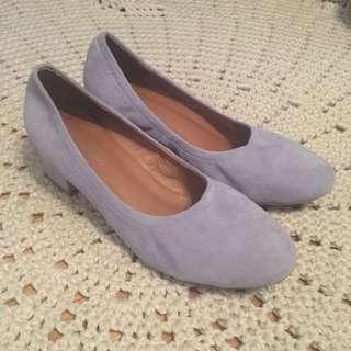 Powder blue suede mid heels