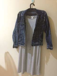 Satu set Dress H&M dan Denim jacket local brand