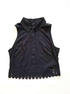 Factorie Black Button Top