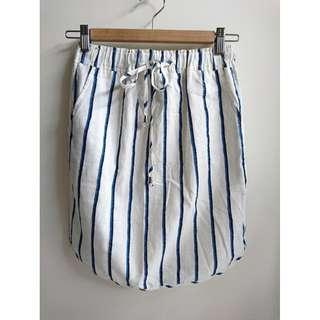韓 清新條紋伸縮綁帶裙
