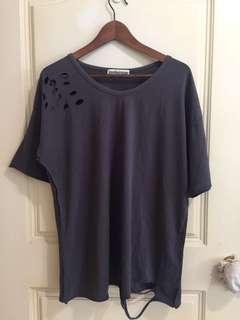 韓版 鐵灰藕潮T/ 垂肩設計—舒服彈性棉衫 L-XL