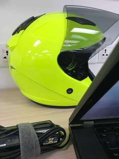 Helmet KYT open face single visor Yellow fluorecent