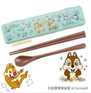 [日本代購] 迪士尼 Winnie the Pooh, Chip n Dale 鋼牙與大鼻 筷子 chopstick 岩晒帶飯一族