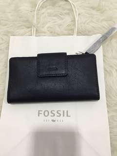 Fossil emma purse navy blue leather