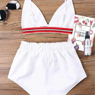Bra two piece shorts tracksuits