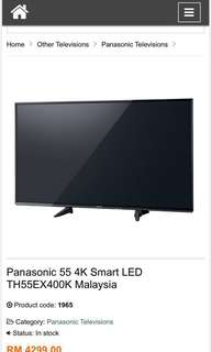 "Panasonic Viera TV 55"" 4K Smart TV"