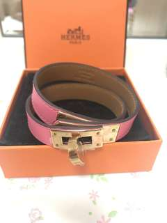 Hermes kelly double tour bracelet gold 8w S size