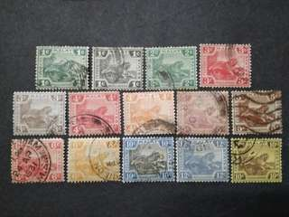 FMS Federated Malay States 1906-1931 Malaya Tiger - 14v Used Stamps #2