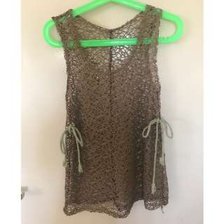 Brown Top with Eyelet pattern