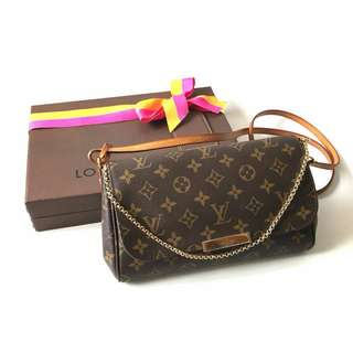 GOOD DEAL! Preloved Louis Vuitton Favorite MM Monogram 2014 complete with dustbag, & box. IDR 11jta