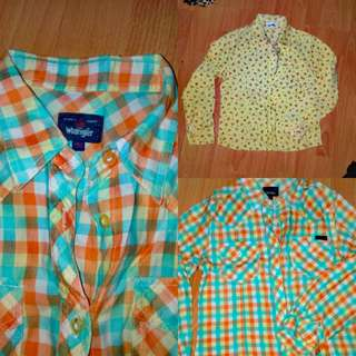 Bundle: Wrangler Plaid/Checkered Long sleeves and Yellow Floral Long sleeves