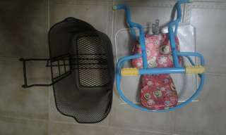 Used bicycle portable basket and baby seat