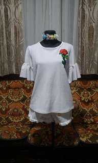 White Bell Top with Rose Patch
