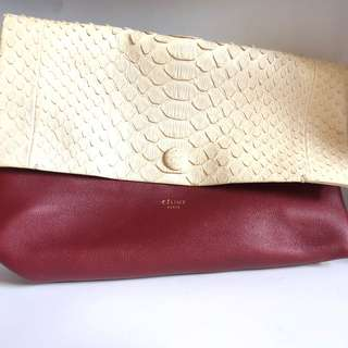 CÉLINE Clutch (White & Red) with dust bag