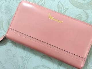 台灣品牌 阿卡天使 牛皮粉紅色 長銀包