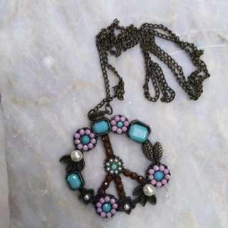 Hippie Peace Love Necklace