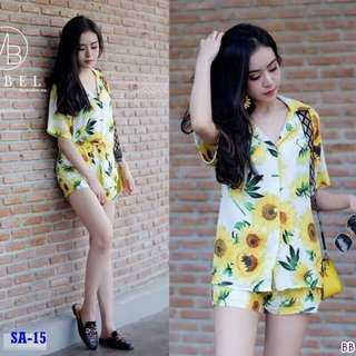 Sunflower set top and shorts ; f@