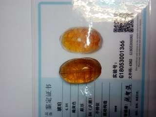 琥珀龟甲。3Cm