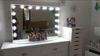 Frameless Hollywood Vanity mirror and drawer
