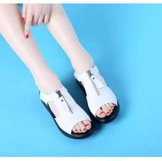 Zipper Cushioned Sandals