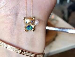 可愛Opal澳泊鑲藍寶右+淡水珍珠小熊18k金頸鏈🎁女朋友生日禮物