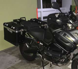 Great condition touratech side panniers complete with rack mounted on 2012 supertenere 1200z